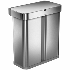 Simplehuman RECTANGULAR 58L tříděný odpad - silver