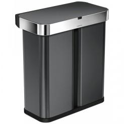 Simplehuman RECTANGULAR 58L tříděný odpad - black